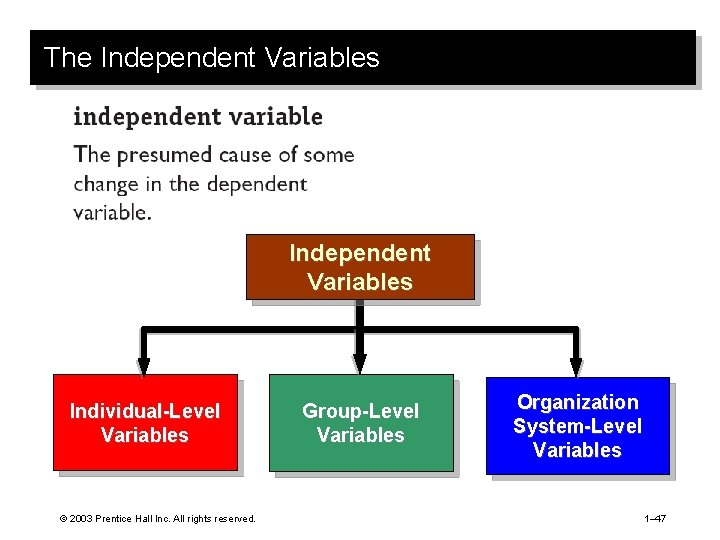 The Independent Variables Individual-Level Variables © 2003 Prentice Hall Inc. All rights reserved. Group-Level