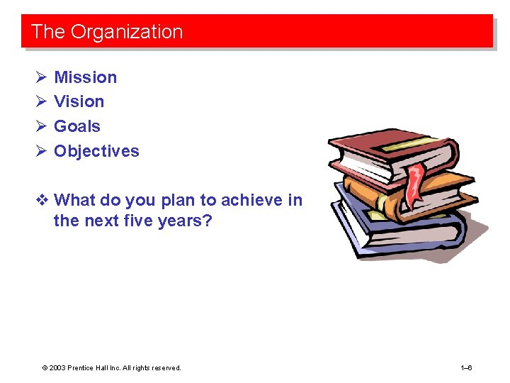 The Organization Ø Ø Mission Vision Goals Objectives v What do you plan to