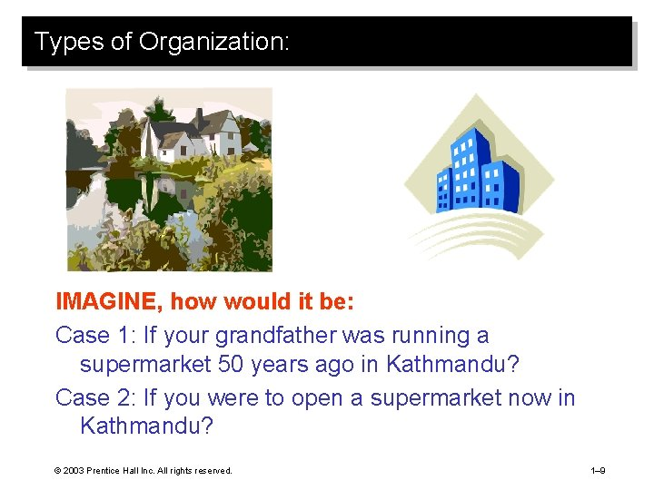 Types of Organization: IMAGINE, how would it be: Case 1: If your grandfather was