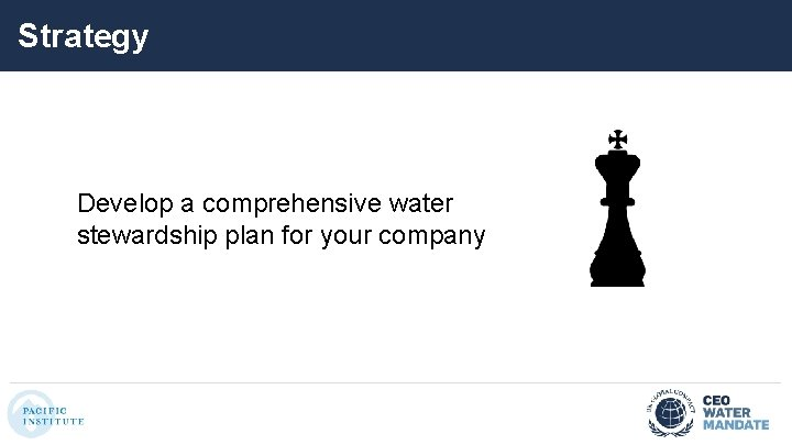 Strategy Develop a comprehensive water stewardship plan for your company