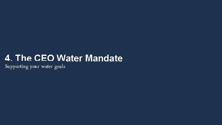 4. The CEO Water Mandate Supporting your water goals