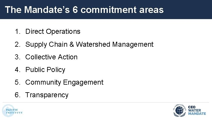 The Mandate's 6 commitment areas 1. Direct Operations 2. Supply Chain & Watershed Management