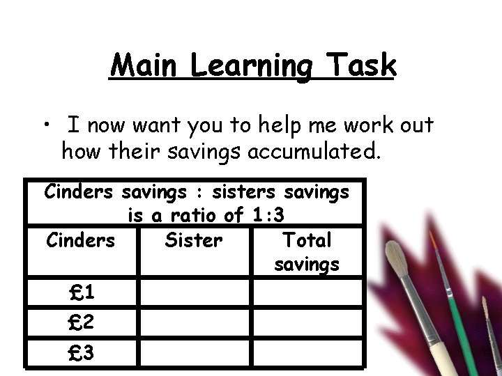 Main Learning Task • I now want you to help me work out how