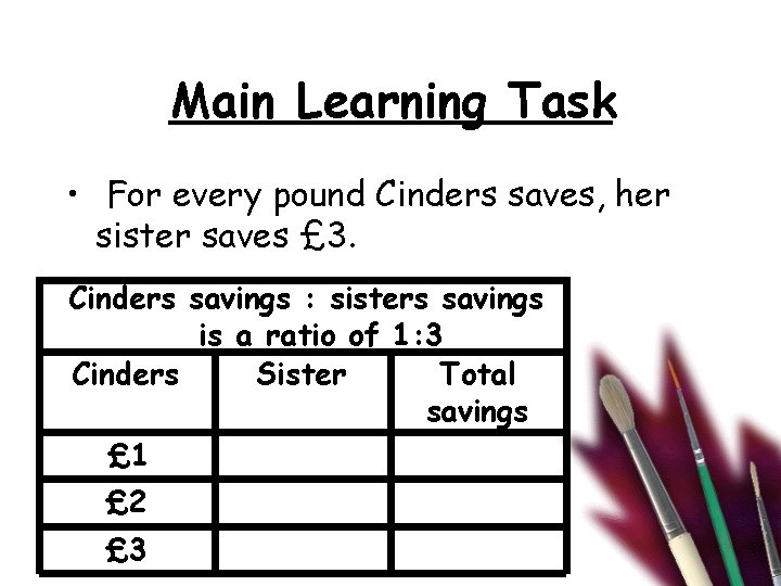 Main Learning Task • For every pound Cinders saves, her sister saves £ 3.