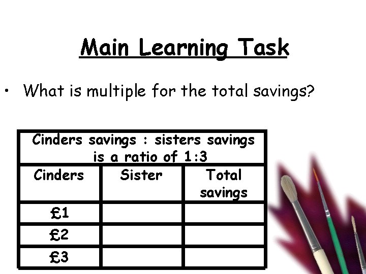 Main Learning Task • What is multiple for the total savings? Cinders savings :