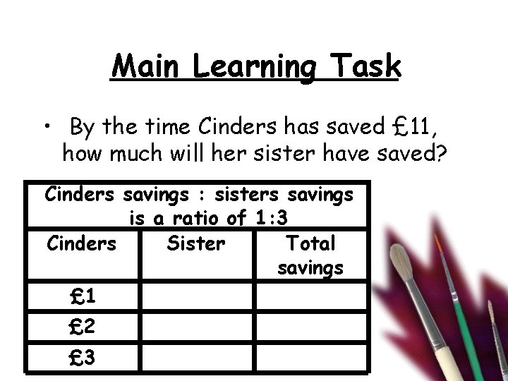 Main Learning Task • By the time Cinders has saved £ 11, how much
