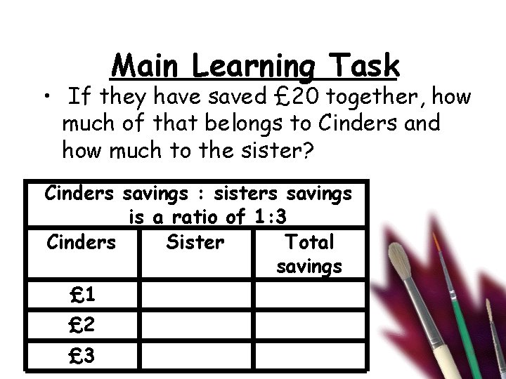 Main Learning Task • If they have saved £ 20 together, how much of