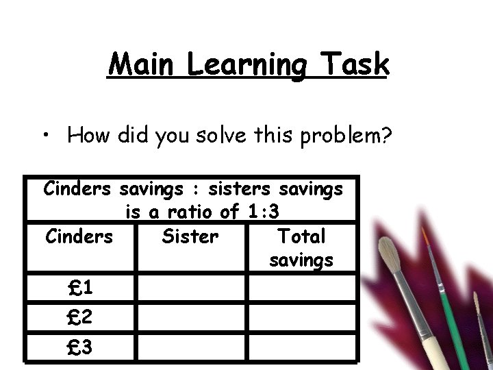 Main Learning Task • How did you solve this problem? Cinders savings : sisters