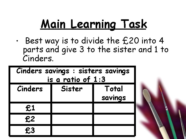 Main Learning Task • Best way is to divide the £ 20 into 4