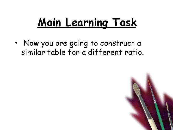 Main Learning Task • Now you are going to construct a similar table for