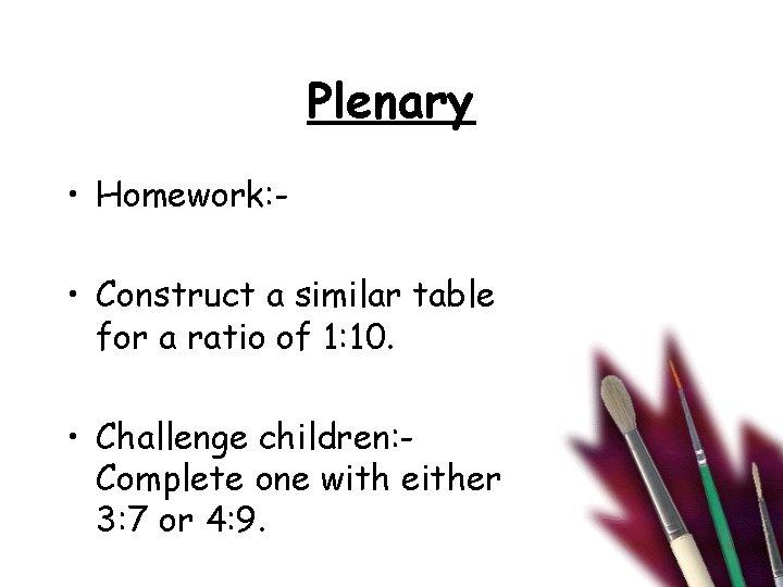 Plenary • Homework: • Construct a similar table for a ratio of 1: 10.