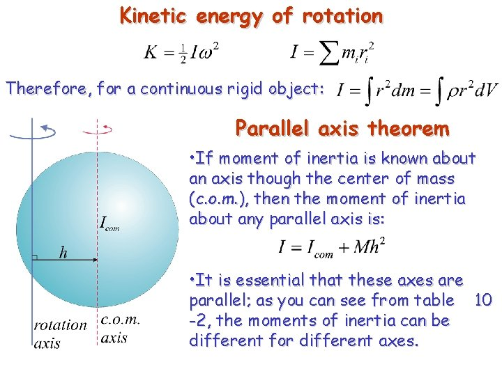 Kinetic energy of rotation Therefore, for a continuous rigid object: Parallel axis theorem •