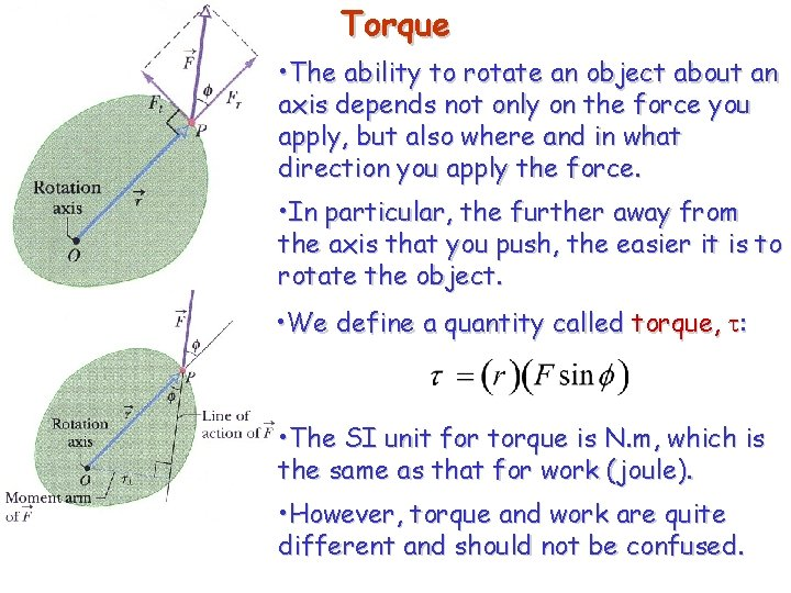 Torque • The ability to rotate an object about an axis depends not only