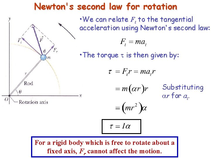 Newton's second law for rotation • We can relate Ft to the tangential acceleration