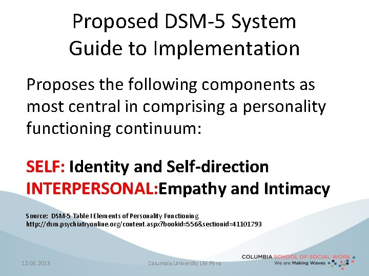 Proposed DSM-5 System Guide to Implementation Proposes the following components as most central in