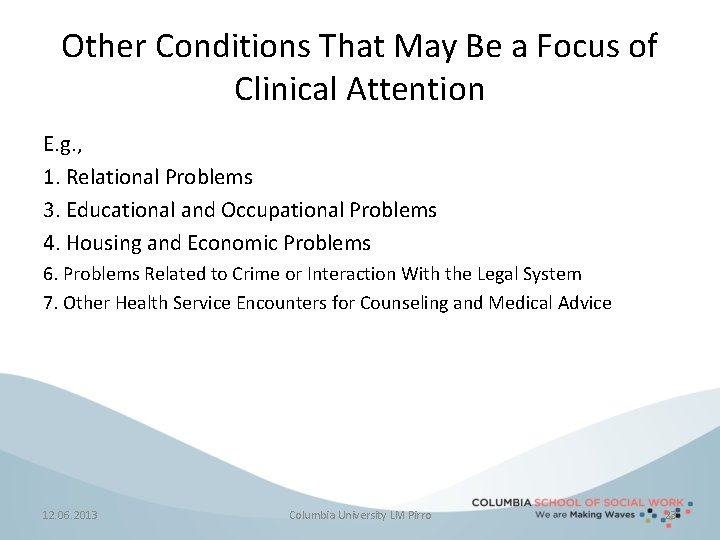 Other Conditions That May Be a Focus of Clinical Attention E. g. , 1.