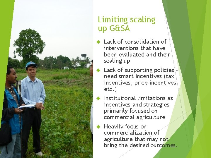 Limiting scaling up G&SA Lack of consolidation of interventions that have been evaluated and