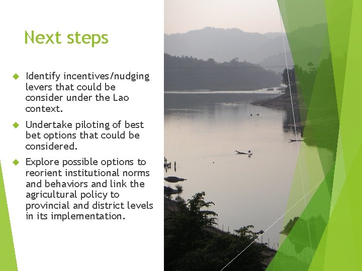 Next steps Identify incentives/nudging levers that could be consider under the Lao context. Undertake