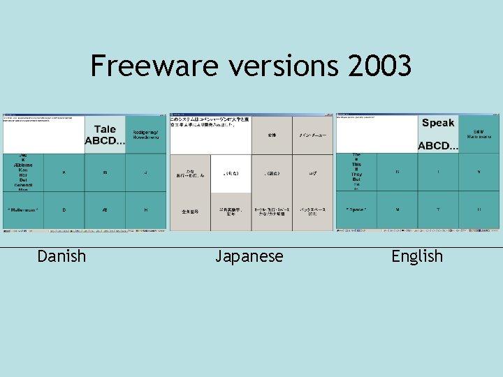 Freeware versions 2003 Danish Japanese English