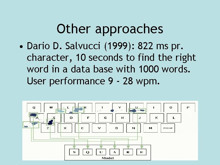 Other approaches • Dario D. Salvucci (1999): 822 ms pr. character, 10 seconds to
