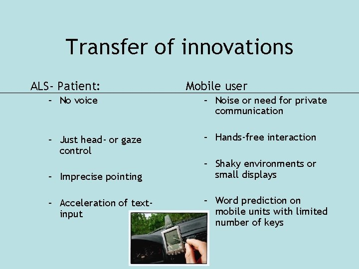 Transfer of innovations ALS- Patient: Mobile user – No voice – Noise or need