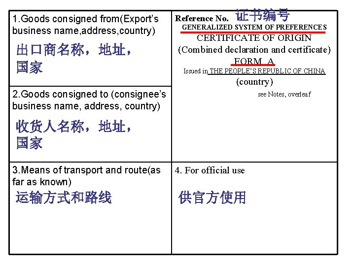 1. Goods consigned from(Export's business name, address, country) 出口商名称,地址, 国家 Reference No. 证书编号 GENERALIZED