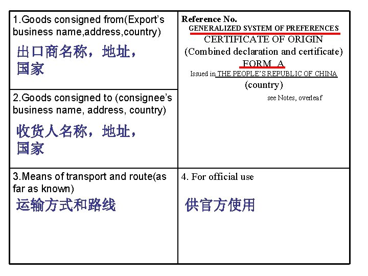 1. Goods consigned from(Export's business name, address, country) 出口商名称,地址, 国家 Reference No. GENERALIZED SYSTEM