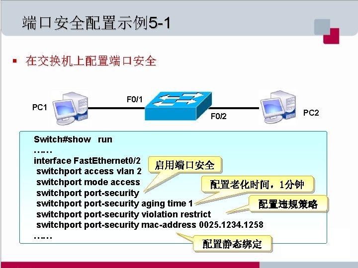 端口安全配置示例5 -1 § 在交换机上配置端口安全 PC 1 F 0/2 PC 2 Switch#show run …… interface