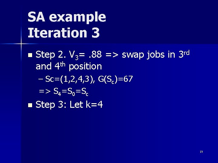 SA example Iteration 3 n Step 2. V 3=. 88 => swap jobs in