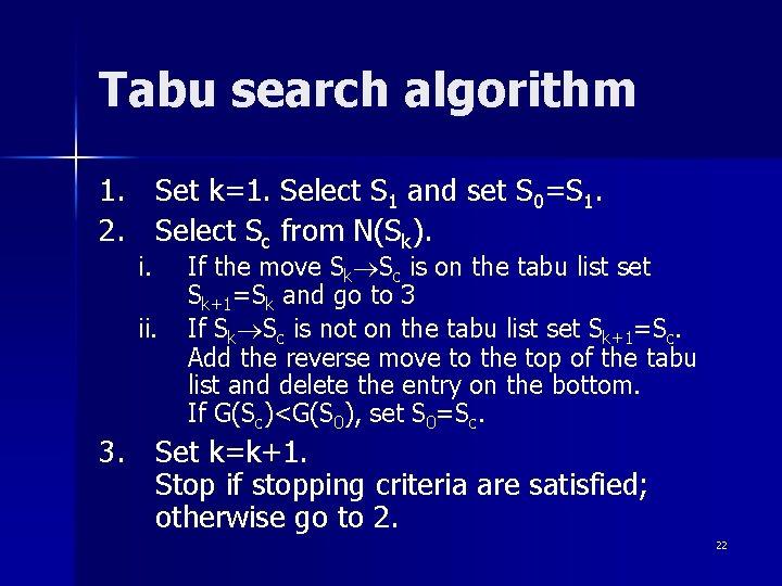 Tabu search algorithm 1. Set k=1. Select S 1 and set S 0=S 1.