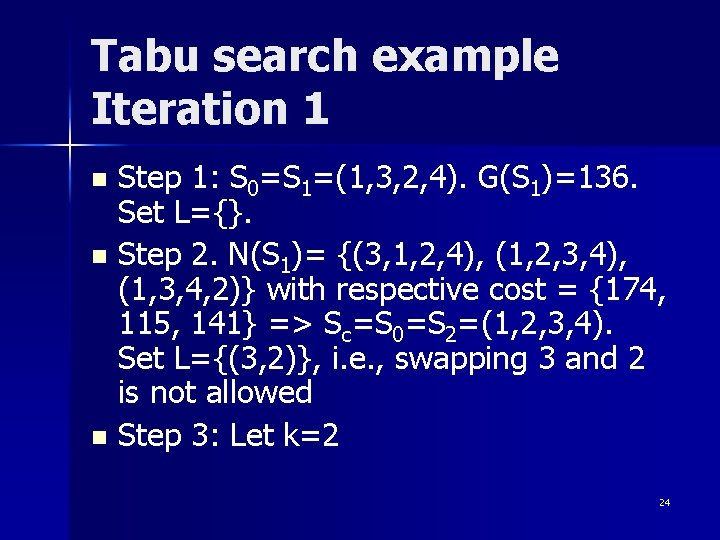 Tabu search example Iteration 1 Step 1: S 0=S 1=(1, 3, 2, 4). G(S