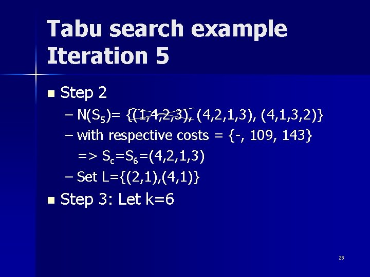 Tabu search example Iteration 5 n Step 2 – N(S 5)= {(1, 4, 2,
