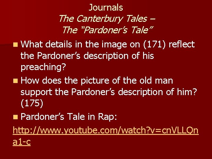 """Journals The Canterbury Tales – The """"Pardoner's Tale"""" n What details in the image"""