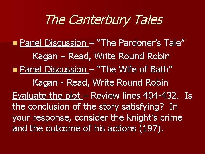 """The Canterbury Tales n Panel Discussion – """"The Pardoner's Tale"""" Kagan – Read, Write"""