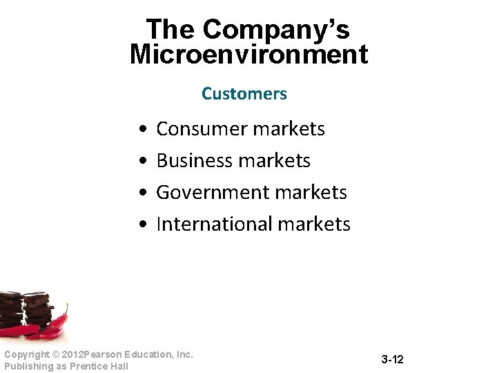The Company's Microenvironment Customers • • Consumer markets Business markets Government markets International markets