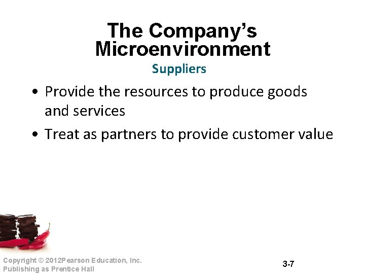The Company's Microenvironment Suppliers • Provide the resources to produce goods and services •