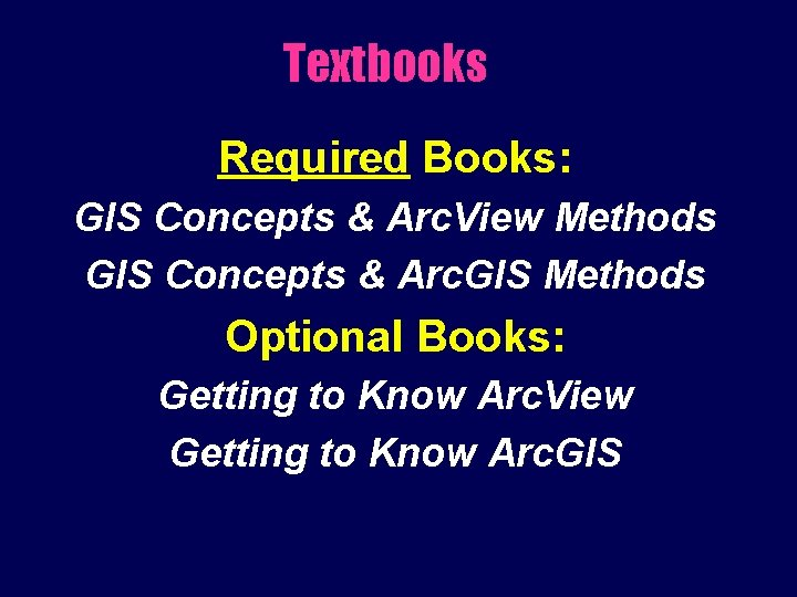 Textbooks Required Books: GIS Concepts & Arc. View Methods GIS Concepts & Arc. GIS