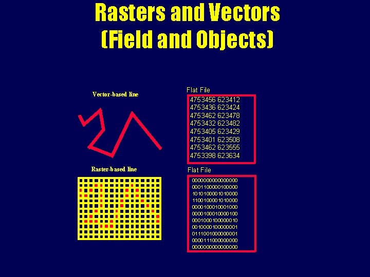 Rasters and Vectors (Field and Objects) Vector-based line Raster-based line Flat File 4753456 623412