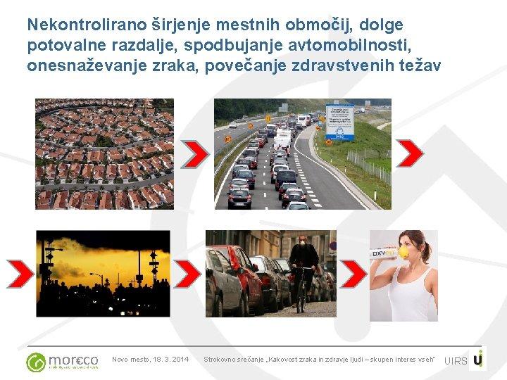 Nekontrolirano širjenje mestnih območij, dolge potovalne razdalje, spodbujanje avtomobilnosti, onesnaževanje zraka, povečanje zdravstvenih težav