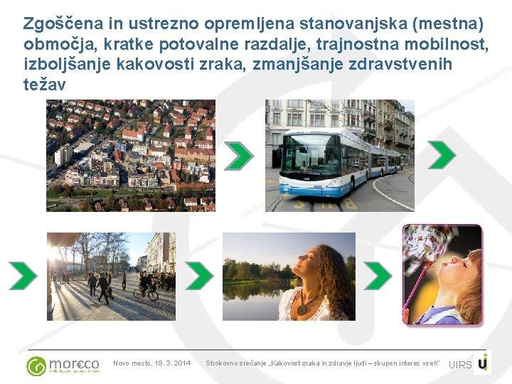 Zgoščena in ustrezno opremljena stanovanjska (mestna) območja, kratke potovalne razdalje, trajnostna mobilnost, izboljšanje kakovosti