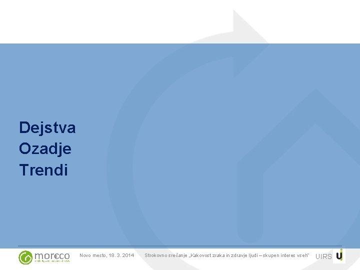 """Dejstva Ozadje Trendi Novo mesto, 18. 3. 2014 Strokovno srečanje """"Kakovost zraka in zdravje"""