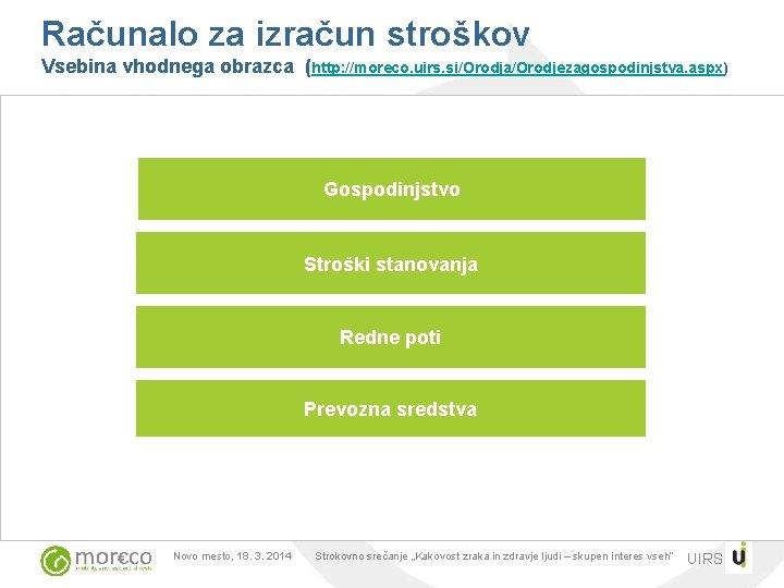 Računalo za izračun stroškov Vsebina vhodnega obrazca (http: //moreco. uirs. si/Orodja/Orodjezagospodinjstva. aspx) Gospodinjstvo Stroški