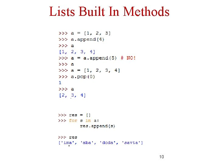 Lists Built In Methods 10
