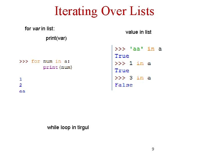 Iterating Over Lists for var in list: value in list print(var) while loop in