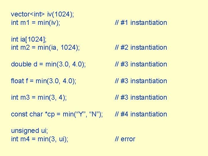 vector<int> iv(1024); int m 1 = min(iv); // #1 instantiation int ia[1024]; int m