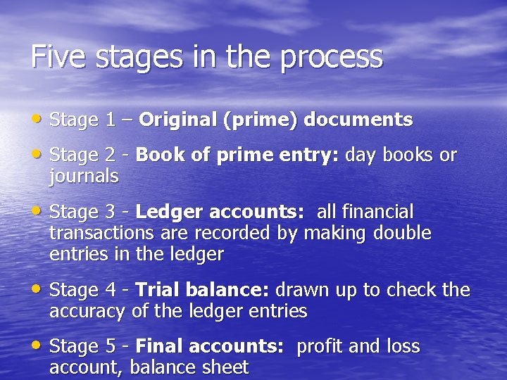 Five stages in the process • Stage 1 – Original (prime) documents • Stage