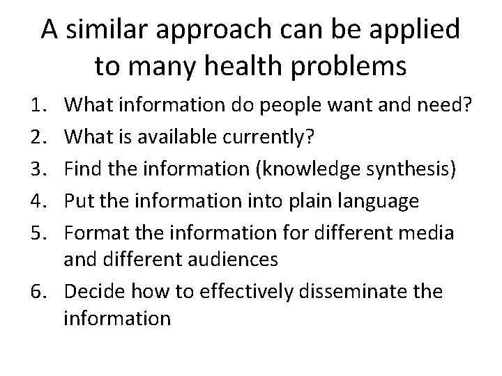 A similar approach can be applied to many health problems 1. 2. 3. 4.