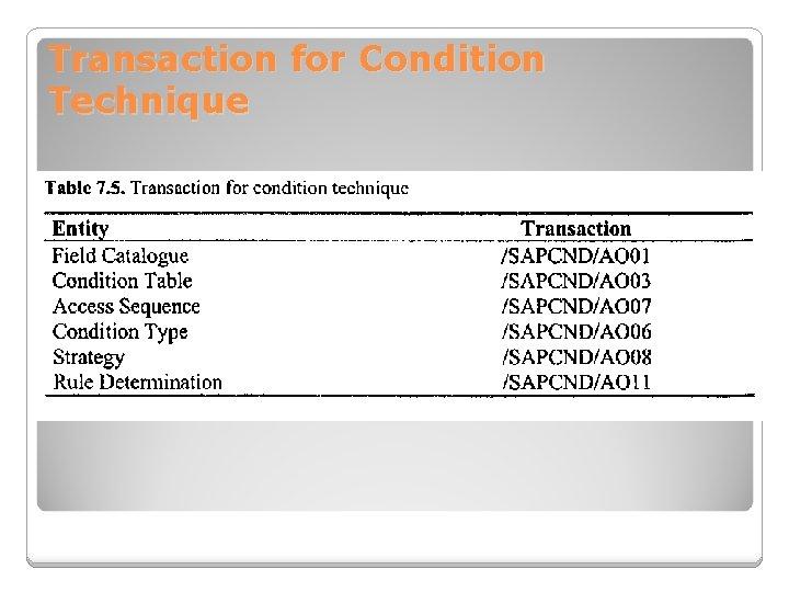 Transaction for Condition Technique