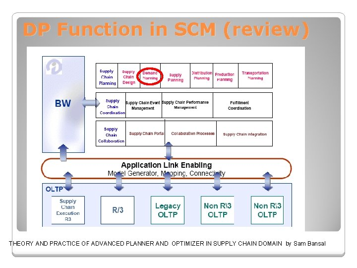 DP Function in SCM (review) THEORY AND PRACTICE OF ADVANCED PLANNER AND OPTIMIZER IN
