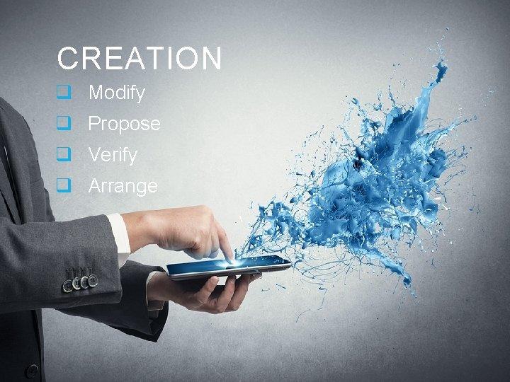 CREATION q Modify q Propose q Verify q Arrange